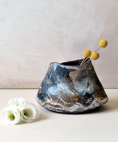 Ceramic Flower Vase OOAK Vases for Centerpiece - ShellyClayspot
