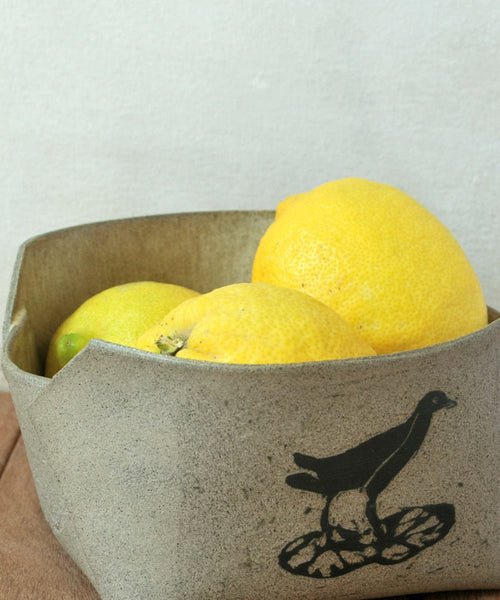 Gray Ceramic Serving Bowl Medium Stoneware Bowl - ShellyClayspot