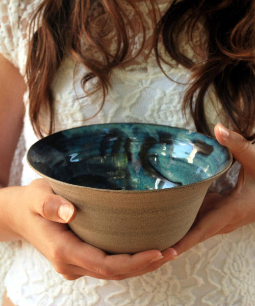 Blue Ceramic Bowl Set Of 2 - ShellyClayspot