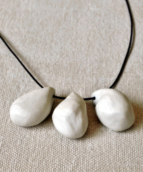 White Tear Drop Porcelain Necklace Organic Jewelry - ShellyClayspot