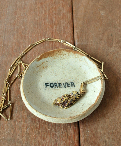 Cream Ceramic Ring Holder FOREVER Ring Dish- ShellyClayspot
