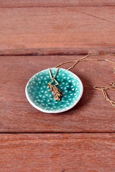Textured Green Ring Holder Dish - ShellyClayspot