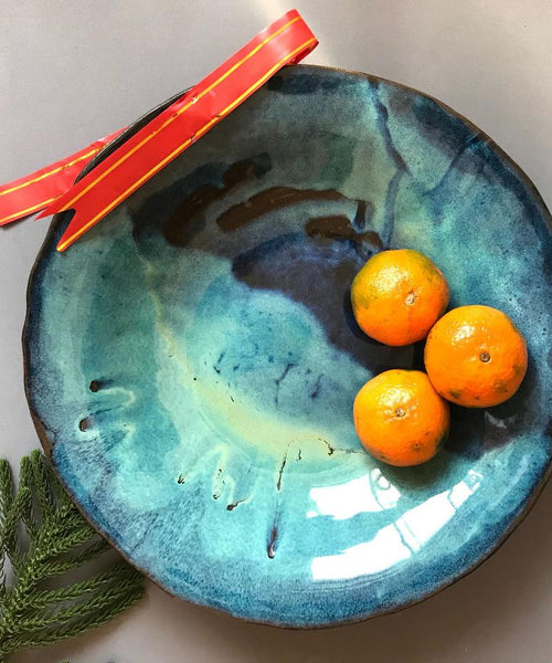 Blue Pottery Bowl - ShellyClayspot