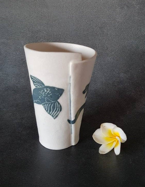 Porcelain Coffee Mug Koi Fish