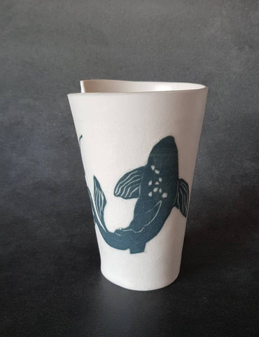 Porcelain Coffee Mug Koi Fish - ShellyClayspot