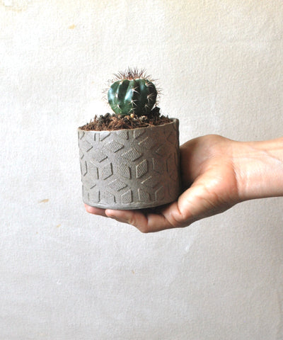 Small Ceramic Planter, Geometric Texture Cacti Planter Pot - ShellyClayspot