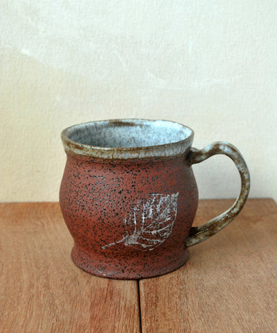 Rustic Terracotta Mug with Leaf Detail - ShellyClayspot