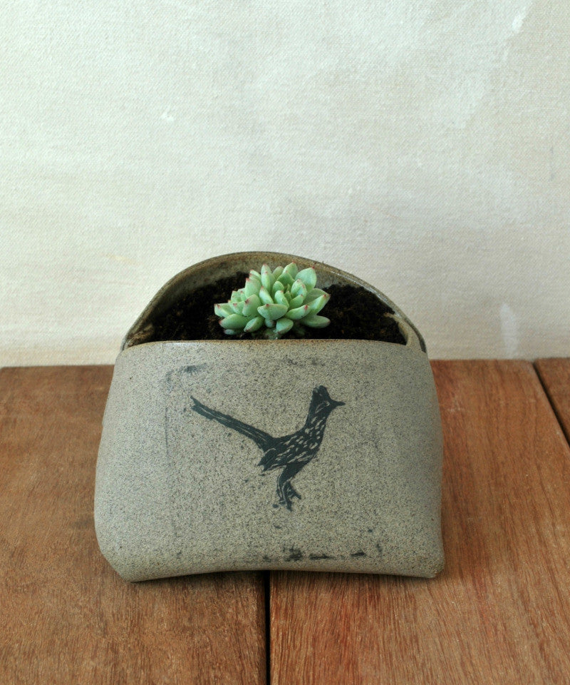 Gray Ceramic planter Unique Planter Mini Vase - ShellyClayspot