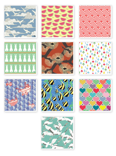 10 pack of Patterned Greeting Cards. Emily Burningham range