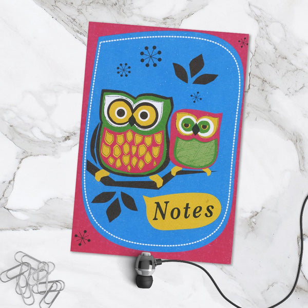 Cute Owl Design Perfect Bound A6 Blank Page Pocket Notebook