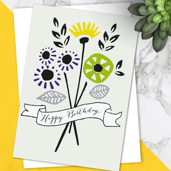 Pretty Colourful Floral Spray Design 'Birthday' Greetings Card (Pack of 6)