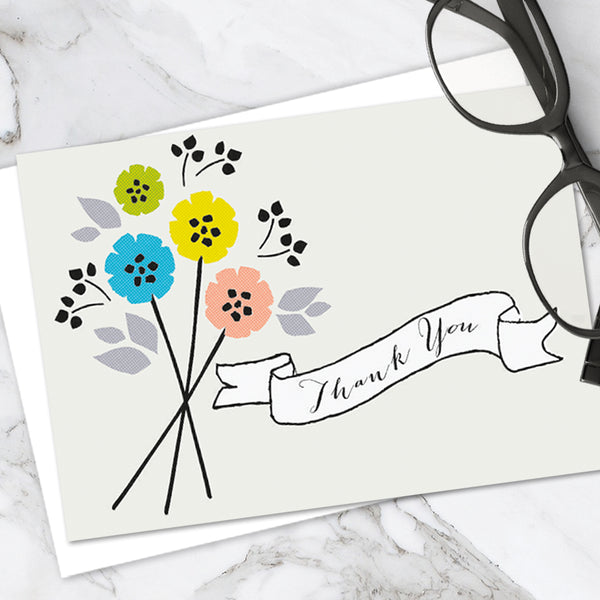 Pretty Colourful Floral Spray Design 'Thank You' Greetings Card (Landscape)