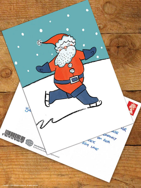 Skating Santa Christmas Postcard