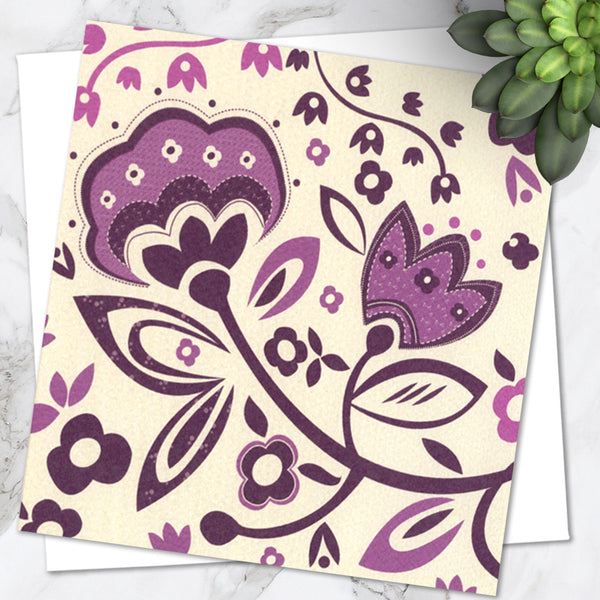 Pretty Purple Floral Print Design Birthday Greetings Card (Pack of 6)