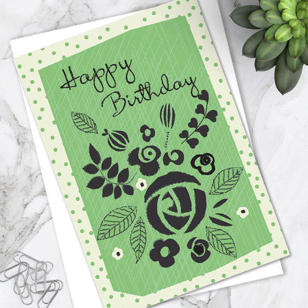 Pretty Green Floral Spot 'Happy Birthday' Greetings Card (Pack of 6)