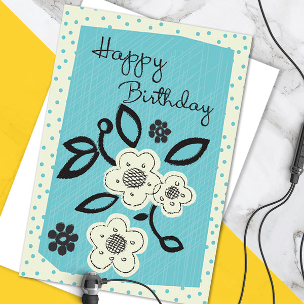 Pretty Blue Floral Spot 'Happy Birthday' Greetings Card (Pack of 6)