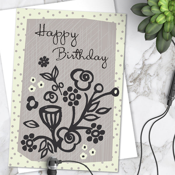 Pretty Mauve Floral Spot 'Happy Birthday' Greetings Card (Pack of 6)