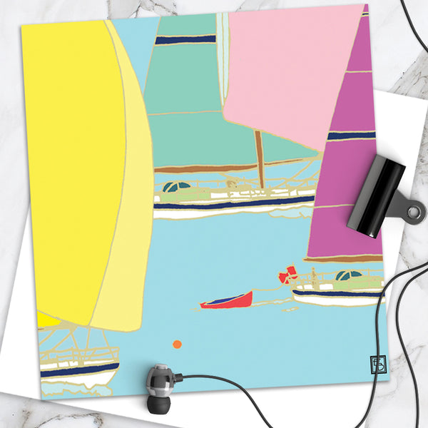 Coloured Sails - Design By Emily Burningham - Blank Greetings Card - Seaside Range