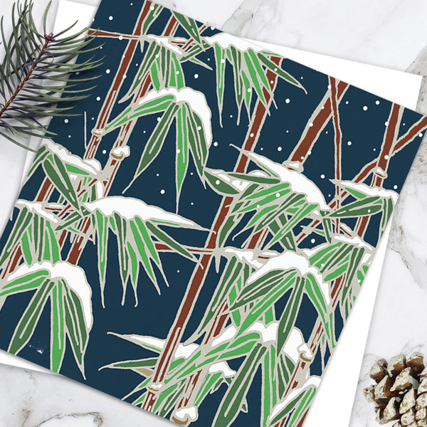 Bamboo In Falling Snow - Design By Emily Burningham - Blank Greetings Card - Christmas Range