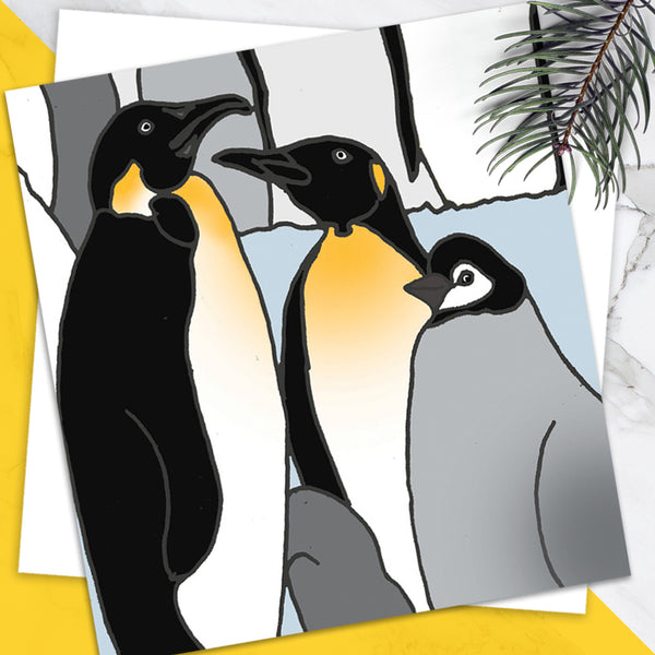 Penguins - Design By Emily Burningham - Blank Greetings Card - Christmas Range