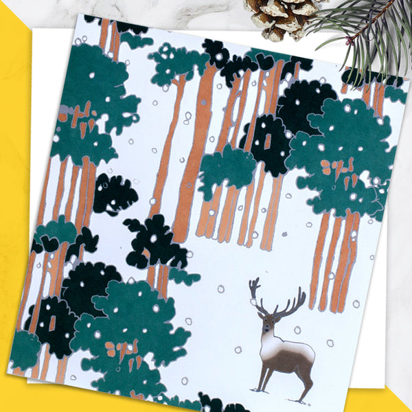 Caribou - Design By Emily Burningham - Blank Greetings Card - Christmas Range