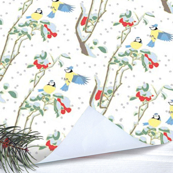 Blue Tits Christmas Gift Wrap (2 sheets folded)