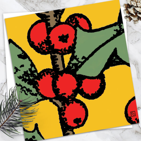 Holly - Design By Emily Burningham - Blank Greetings Card - Christmas Range
