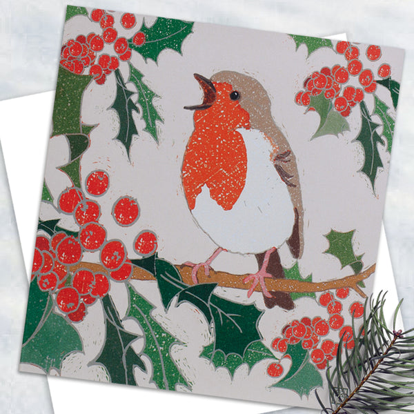 Singing Robin - Design By Emily Burningham - Blank Greetings Card - Christmas Range