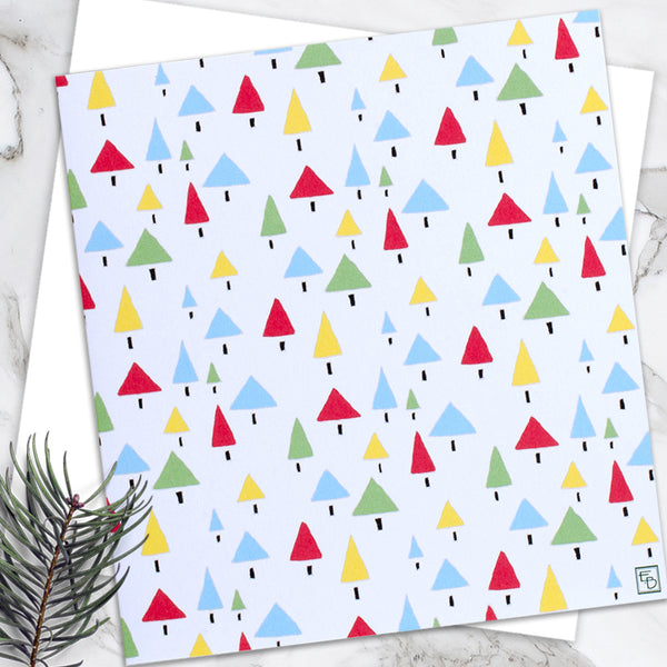 Christmas Trees - Design By Emily Burningham - Blank Greetings Card - Christmas Range