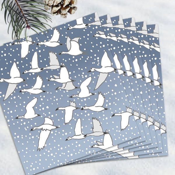 Pack Of 6 Christmas snow goose Notecards With Envelopes - 1 Design - Blank Inside - Christmas Range -