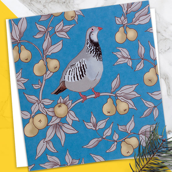 Partridge In A Pear Tree - Design By Emily Burningham - Blank Greetings Card - Christmas Range