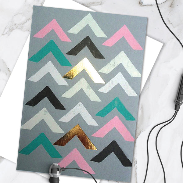 Pastel Coloured Geometric Chevron Shape Print Design With Gold Foil Finish - Birthday Greetings Card