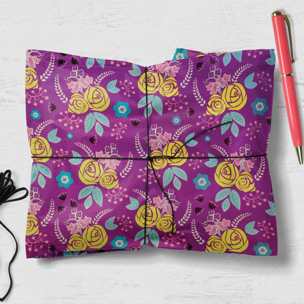 Floral Design Double Sided Gift Wrap (2 sheets folded)