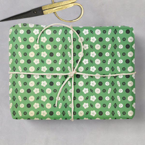 Button, Flower & Dotty Double Sided Gift Wrap (2 sheets folded)
