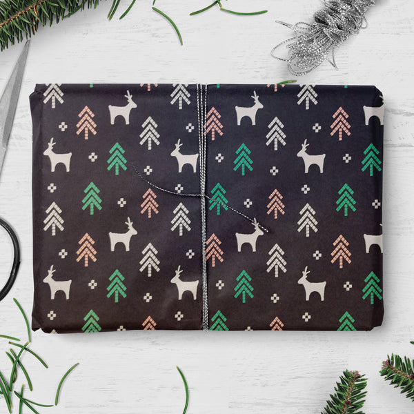 Reindeer, Tree & Star Design Double Sided Christmas Gift Wrap (2 sheets folded)