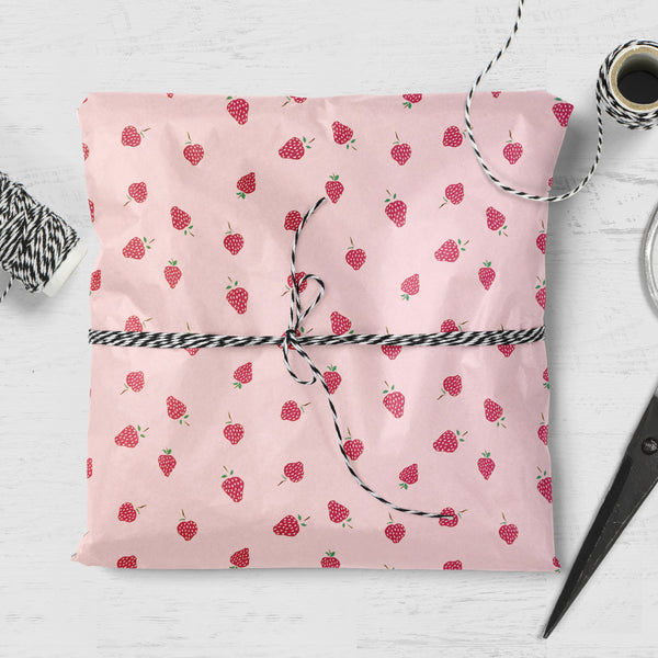Strawberry Design Gift Wrap (2 sheets folded)