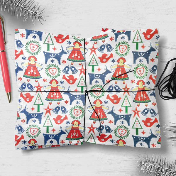 Angel Reindeer Design Christmas Gift Wrap (Flat Pack of 25 Sheets)