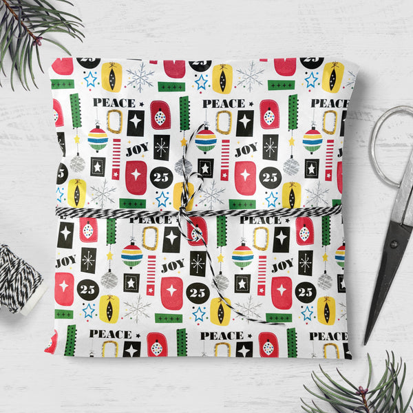 Bauble, Peace & Joy Design Christmas Gift Wrap (2 sheets folded)