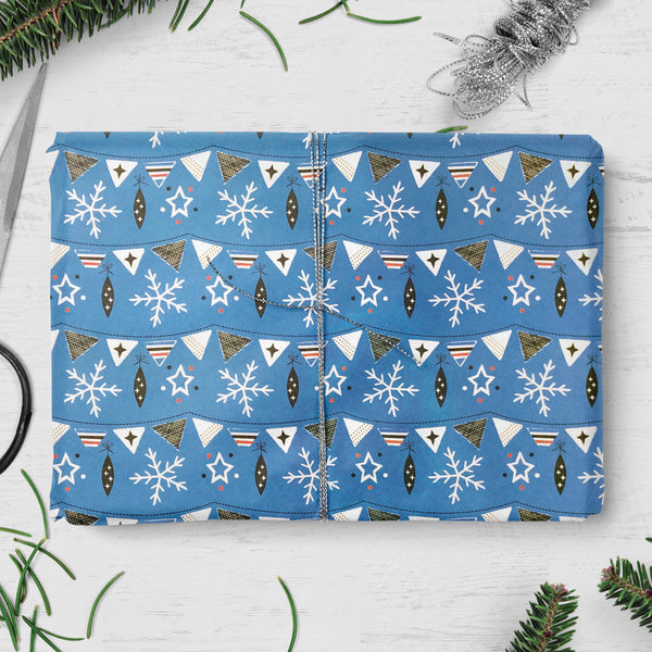 Snowflake & Bunting Design Christmas Gift Wrap (2 sheets folded)
