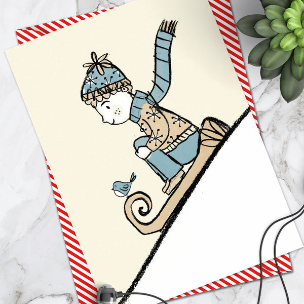 Boy Sledge Christmas Card (Pack Of 6)