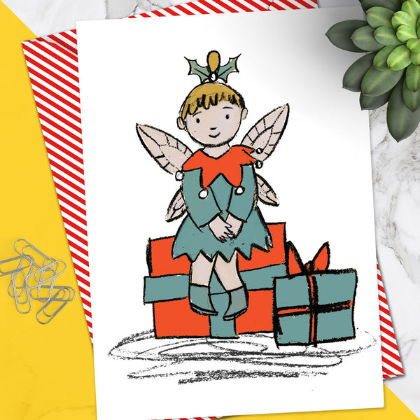 Fairy Presents Christmas Card (Pack Of 6)