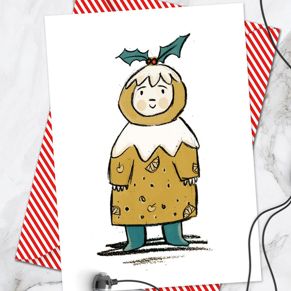 Pudding Girl Christmas Card (Pack Of 6)
