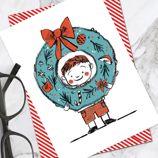 Boy Wreath Christmas Card (Pack Of 6)