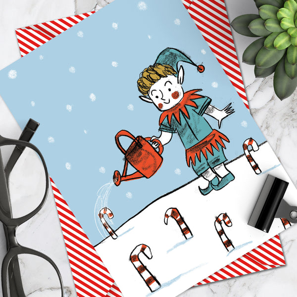 Candy Cane Christmas Card (Pack Of 6)