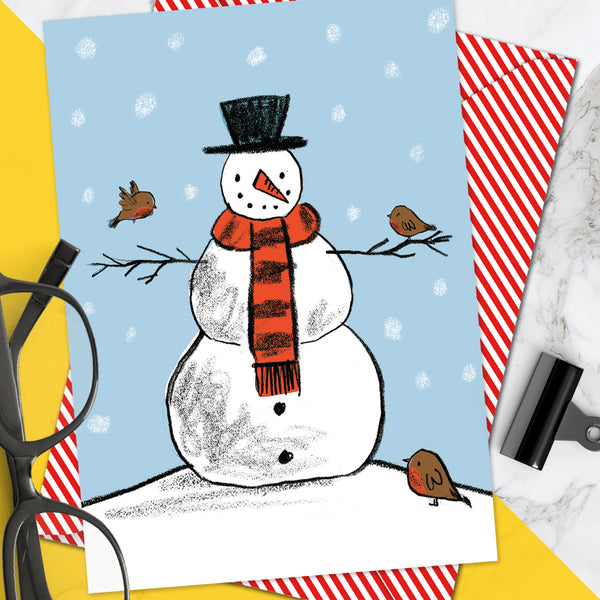 Snowman Robins Christmas Card (Pack Of 6)
