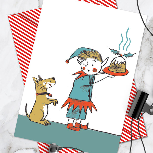 Elf Pudding Christmas Card (Pack Of 6)