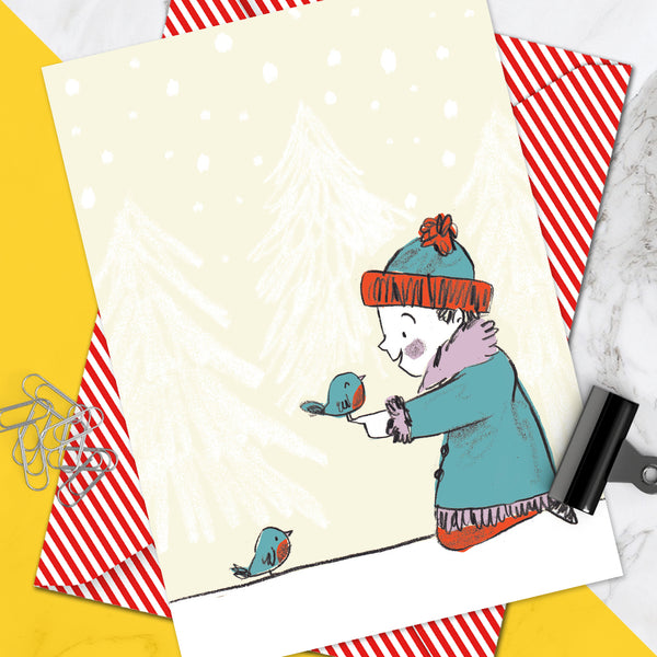Girl Robins Christmas Card (Pack Of 6)