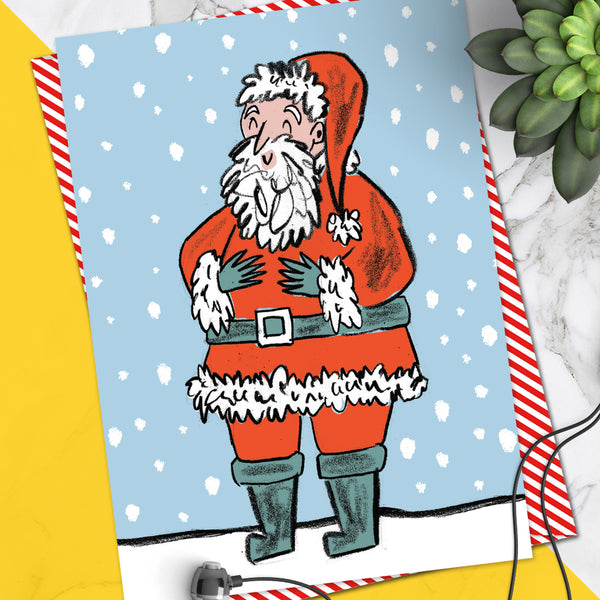 Happy Santa Christmas Card (Pack Of 6)