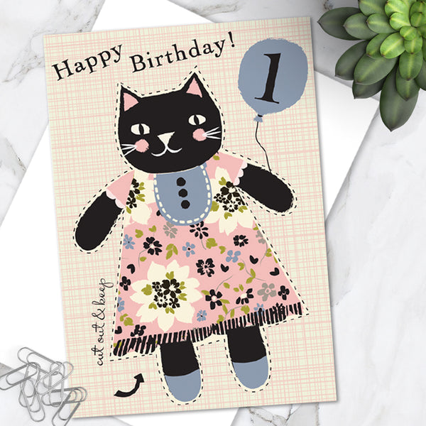 Little Dolly Wotsit - Children's Birthday Card 'Age 1' Cute Kitty Cat Design - Cut Out Activity - A Lovely Little Keepsake!