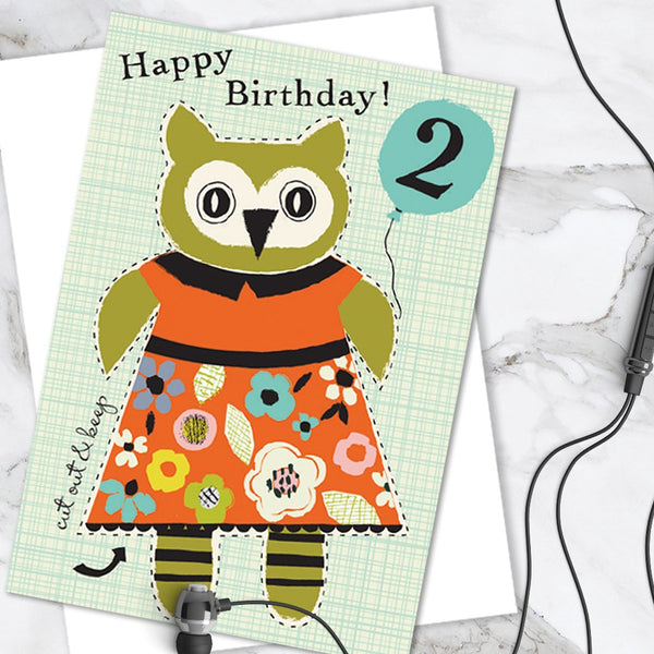 Little Dolly Wotsit - Children's Birthday Card 'Age 2' Cute Owl Design - Cut Out Activity - A Lovely Little Keepsake!